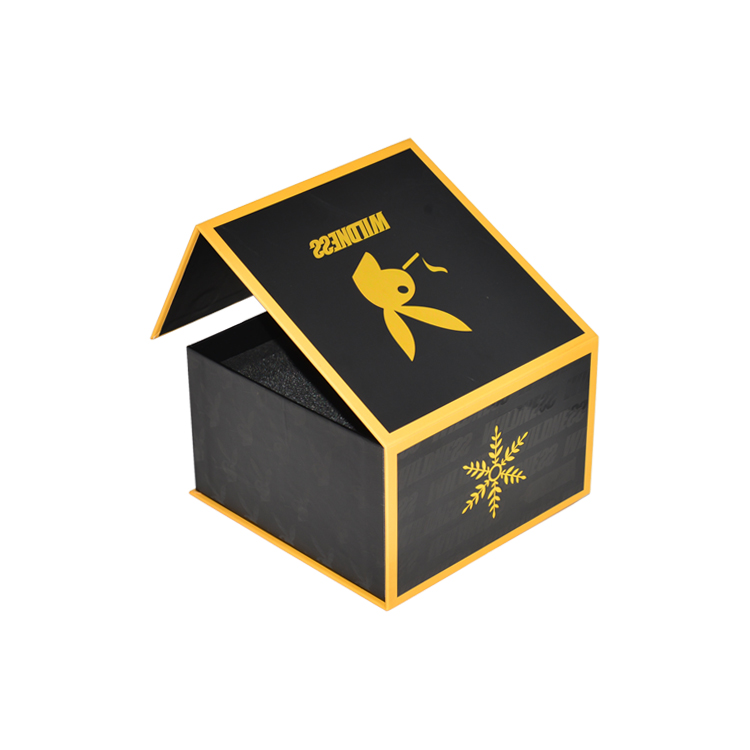 SPOT UV Magnetic Papre Packaging Box For Condom With Gold Foil Stamping Logo And Foam Insert