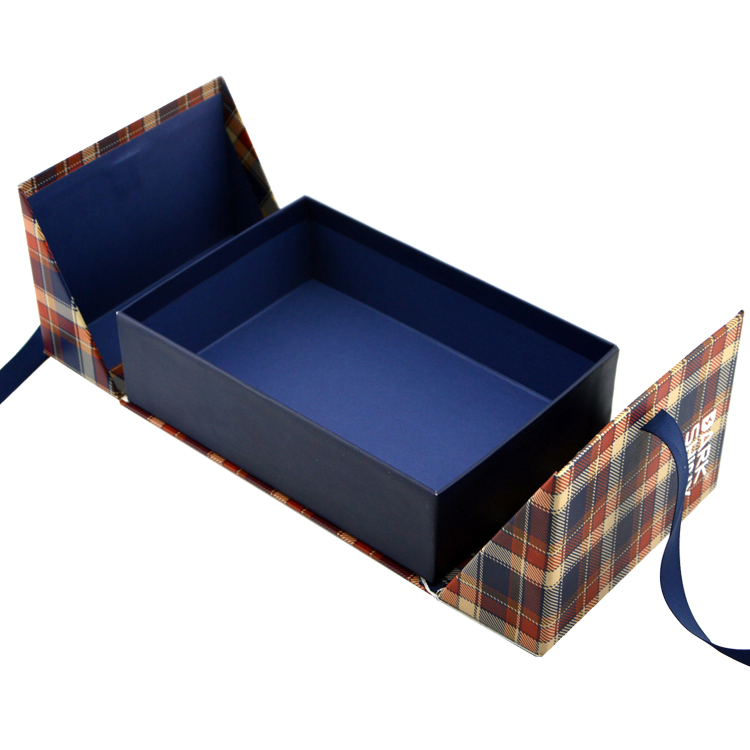Two Sides Open Luxury Rigid Cardboard Premium Linen Paper Packaging Gift Box For Fragrance With Ribbon Closure
