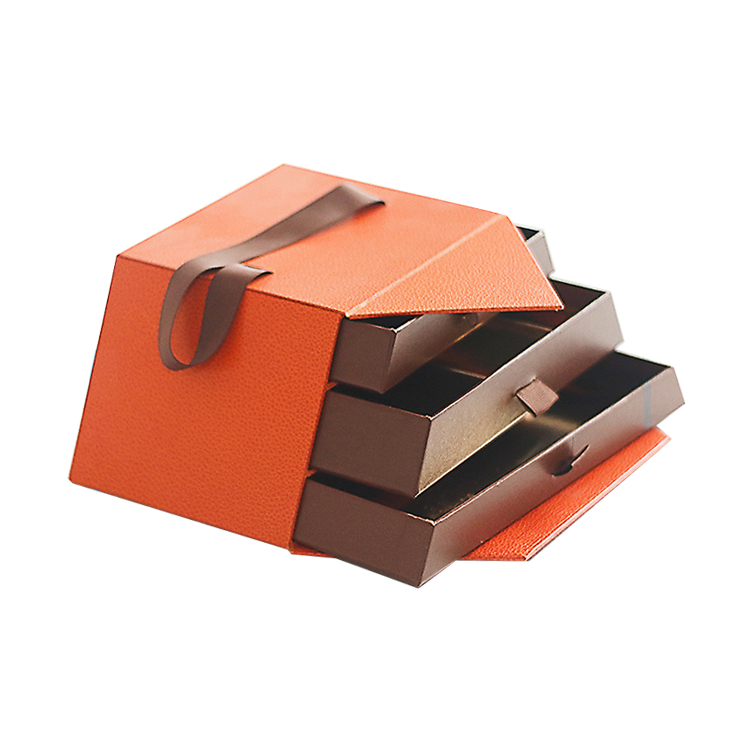 3 Layers Sliding Empty Food Grade Luxury PU Leather Gift Packaging Box For Chocolate With Silk Ribbon