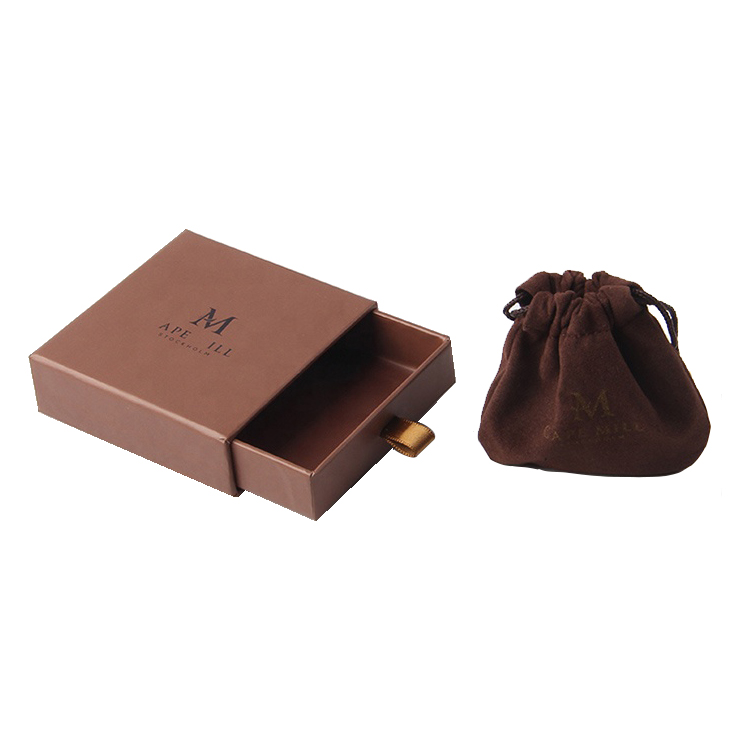 Wholesales High End Custom Rigid Paper Drawer Gift Box For Jewelry With Pouch Bag And Hot Foiled Logo