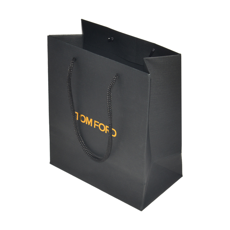 Custom Matte Black Luxury Cardboard Paper Shopping Bag with Rope Handle and Gold Foil Logo