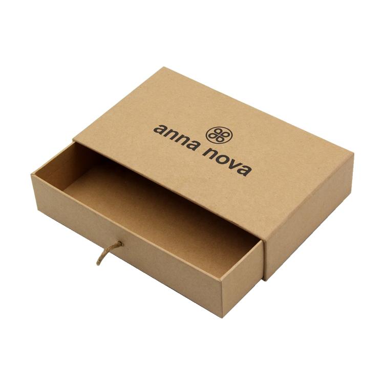 Luxury Custom Accessories Packaging Kraft Rigid Paper Sliding Drawer Gift Box with Silk Ribbon