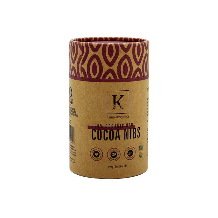 Biodegradable Custom Printed Kraft Round Paper Packaging Cylinder Tube Box for Cocoa Nibs