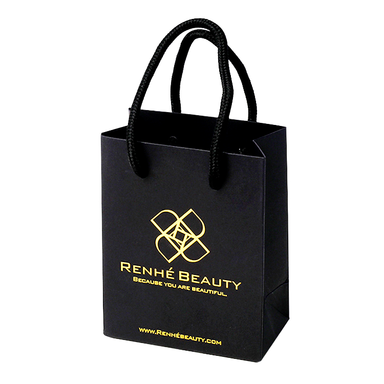 Custom Luxury Paper Gift Bags with Twisted Rope Handle and Gold Hot Foil Stamping logo for Wholesale