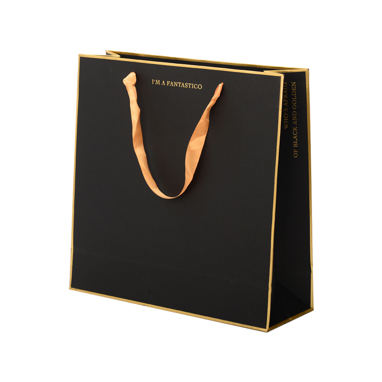 China Custom Hot Stamping Printed Logo Luxury Gift Paper Bags with Ribbon Handles for Retail Store