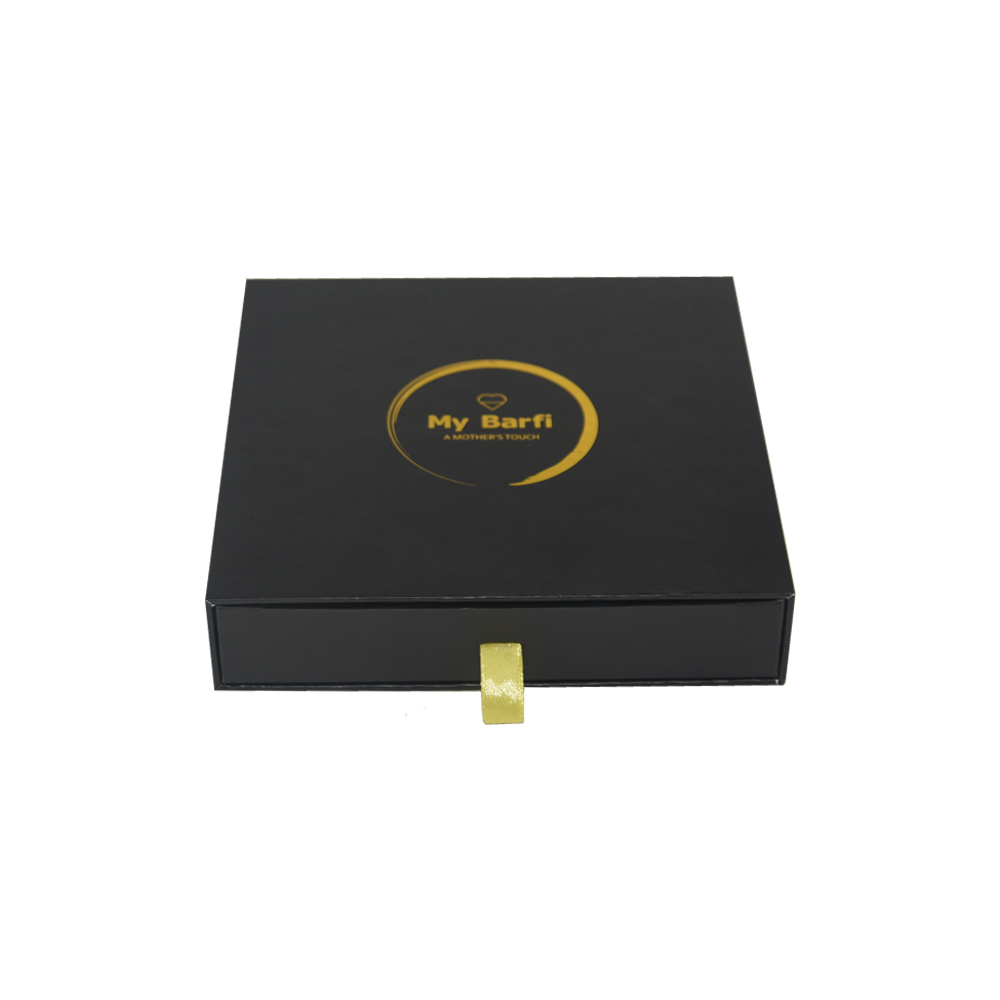 Custom Logo Printed Slide Gift Box Barfi Packaging Rigid Cardboard Box with Drawer and Gold Hot Foil Logo
