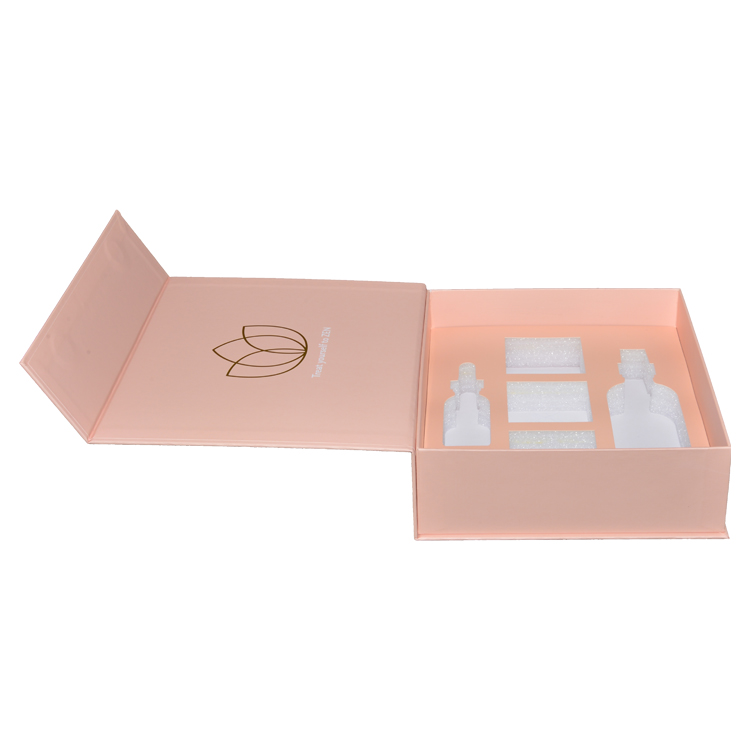 Luxury Wholesale Large Blush Pink Magnetic Gift Boxes with Foam Holder and Gold Hot Foil Stamping Logo